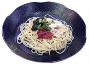 ささみと梅肉と野沢菜の和風ソース