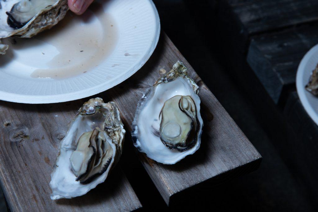 開かれた牡蠣